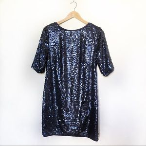 RACHEL Rachel Roy Blue Sequin Shift Dress